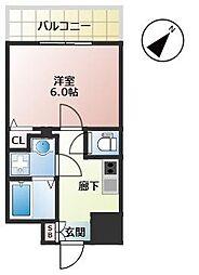 福岡市地下鉄箱崎線 千代県庁口駅 徒歩2分の賃貸マンション 6階1Kの間取り