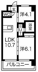FDS Plaisir 10階2LDKの間取り
