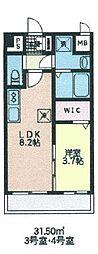 シェル新川 7階1LDKの間取り