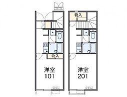 福岡市地下鉄空港線 姪浜駅 徒歩6分の賃貸アパート 2階1Kの間取り