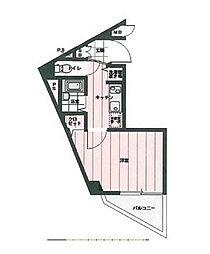 東急東横線 学芸大学駅 徒歩16分の賃貸マンション 6階1Kの間取り