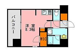 西鉄天神大牟田線 高宮駅 徒歩20分の賃貸マンション 14階ワンルームの間取り