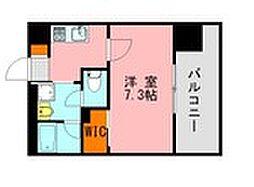 西鉄天神大牟田線 高宮駅 徒歩20分の賃貸マンション 7階1Kの間取り