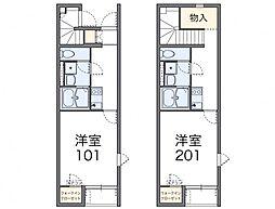 JR津山線 法界院駅 徒歩16分の賃貸アパート 1階1Kの間取り