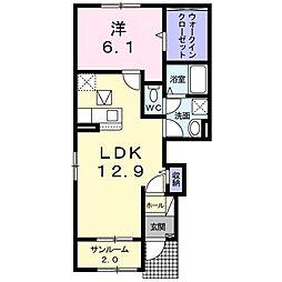 ブリーゼIV 1階1LDKの間取り