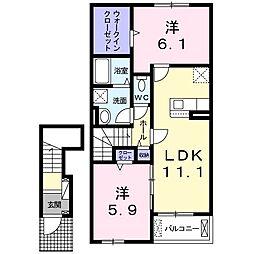 ブリーゼIV 2階2LDKの間取り