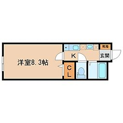 JR仙石線 福田町駅 徒歩15分の賃貸アパート 2階1Kの間取り