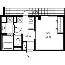 JR山手線 渋谷駅 徒歩8分の賃貸マンション 2階1Kの間取り