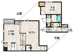 西鉄天神大牟田線 西鉄平尾駅 徒歩18分の賃貸アパート 2階1LDKの間取り