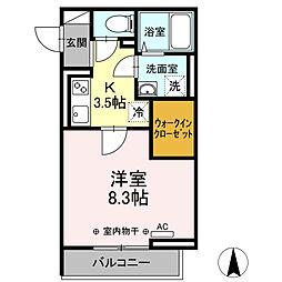 小田急小田原線 本厚木駅 徒歩4分の賃貸アパート 2階1Kの間取り