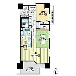 ライオンズマンション内丸第2 1階2LDKの間取り