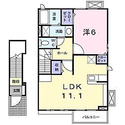 breeze house K 2階1LDKの間取り