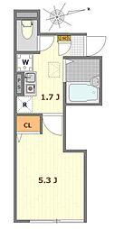 JR中央線 立川駅 徒歩10分の賃貸アパート 1階1Kの間取り