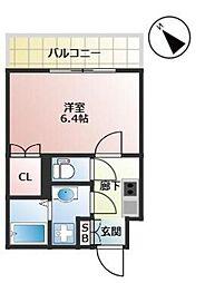 福岡市地下鉄箱崎線 千代県庁口駅 徒歩2分の賃貸マンション 8階1Kの間取り