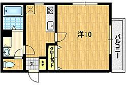 シャルレ13番館 5階1Kの間取り