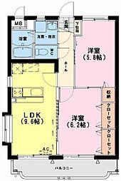 ユーミービエント 3階2LDKの間取り