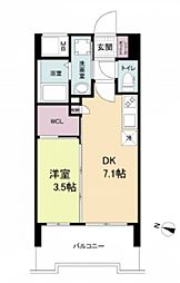 阪神本線 春日野道駅 徒歩6分の賃貸マンション 10階1DKの間取り