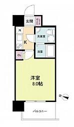 阪神本線 春日野道駅 徒歩6分の賃貸マンション 8階1Kの間取り