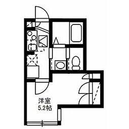 東急田園都市線 駒沢大学駅 徒歩5分の賃貸マンション 1階1Kの間取り