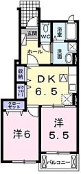 サウスセブンII 1階2DKの間取り