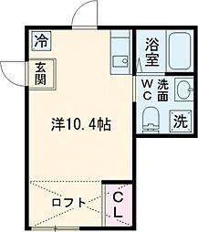 プリンセスライン高井戸 2階ワンルームの間取り