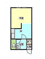 会田荘 2階1Kの間取り