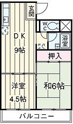 JR南武線 矢川駅 徒歩14分の賃貸マンション 1階2DKの間取り