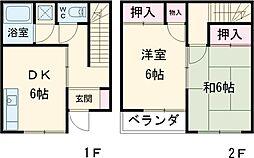JR南武線 谷保駅 徒歩7分の賃貸テラスハウス 1階2DKの間取り