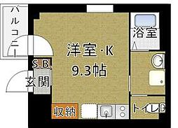 b'CASA Higashi Ginza 4階1Kの間取り
