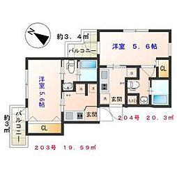 京急本線 新馬場駅 徒歩8分の賃貸マンション 2階1Kの間取り