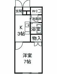 アンプルール 湘南ヒルズ 2階1Kの間取り