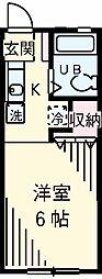 JR南武線 宿河原駅 徒歩10分の賃貸アパート 1階1Kの間取り