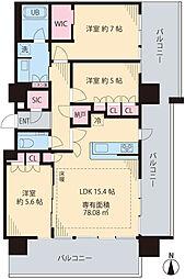 ザ・パークハウス中野タワー1806号室 18階3LDKの間取り