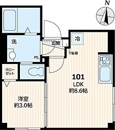 東京メトロ日比谷線 三ノ輪駅 徒歩7分の賃貸マンション 1階1LDKの間取り
