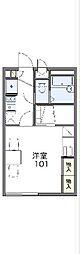 西武多摩川線 競艇場前駅 徒歩4分の賃貸アパート 2階1Kの間取り