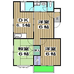 JR山陰本線 亀岡駅 徒歩18分の賃貸マンション 2階3DKの間取り
