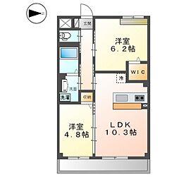 阪急京都本線 西山天王山駅 徒歩17分の賃貸マンション 2階2LDKの間取り