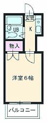 ユトリロ南栄 2階1Kの間取り