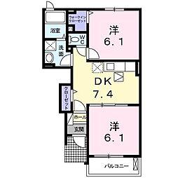 JR東海道本線 豊橋駅 バス18分 三菱ケミカル口下車 徒歩8分の賃貸アパート 1階2DKの間取り
