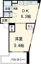 ラ・ジオンII 5階1DKの間取り