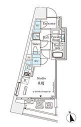 東京メトロ半蔵門線 表参道駅 徒歩12分の賃貸マンション 12階ワンルームの間取り