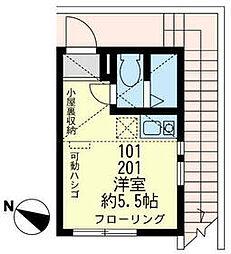 JR鶴見線 安善駅 徒歩2分の賃貸アパート 2階ワンルームの間取り