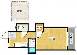 西鉄貝塚線 唐の原駅 徒歩7分の賃貸アパート 2階1Kの間取り