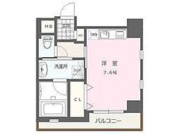 福岡市地下鉄空港線 大濠公園駅 徒歩9分の賃貸マンション 4階1Kの間取り