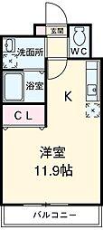 I-STAGE東岩田 2階ワンルームの間取り