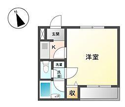 大阪モノレール本線 山田駅 徒歩10分の賃貸マンション 2階1Kの間取り