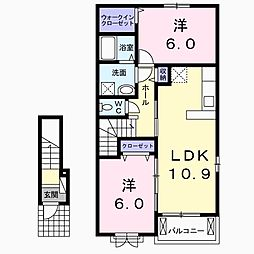 プレーヌ B 2階2LDKの間取り