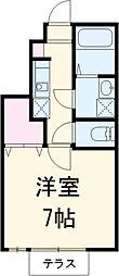西武多摩川線 新小金井駅 徒歩5分の賃貸アパート 1階1Kの間取り