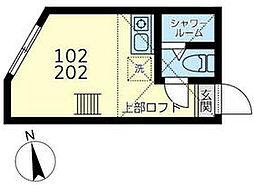 ミラベル横浜 1階ワンルームの間取り