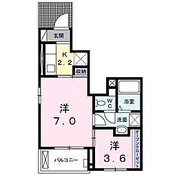 JR川越線 武蔵高萩駅 徒歩2分の賃貸アパート 1階1SKの間取り